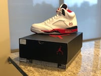 unpaired white and red Air Jordan 5 shoe with box Alexandria, 22310