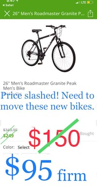 "Price Slashed! 26"" men's black roadmaster men's mountain bike"