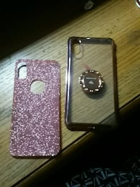 I phone x case, clear with glitter pink back slip  Fresno, 93727