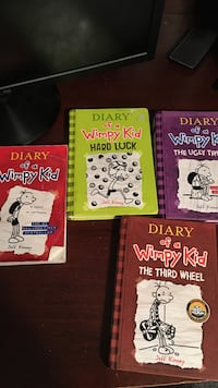 three Diary of a Wimpy Kid books