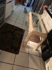 Long wicker Table with glass top