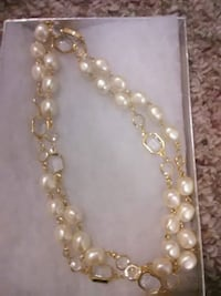 gold and white pearl beaded necklace