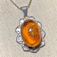 Genuine Sterling Silver Baltic Amber Pendant with Sterling Rope Chain