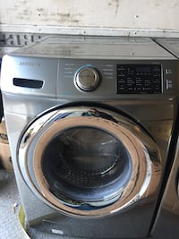 gray Samsung front-load clothes washer