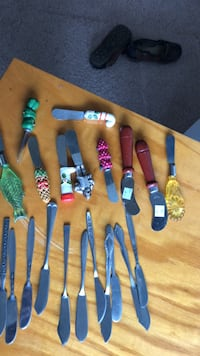 My collection of 21 beautiful and various shapes and sizes and colors decorative butter knives. Make offer Norfolk, 23523
