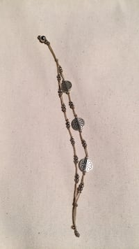 Silver Beaded bracelet with creme string Pelham, 10803