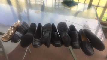 Four pairs of black leather shoes size 36-37-38 pear 25