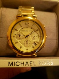 round gold Michael Kors chronograph watch with gold link bracelet Calgary, T2A 1J3