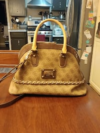 beige and white leather 2-way handbag
