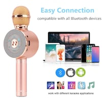 Wireless Bluetooth Karaoke Microphone, TraCa Portable Handheld Speaker With LED Light, AUX, TF Card, Compatible with Android iOS PC iPad for Home KTV Bar Party San Francisco