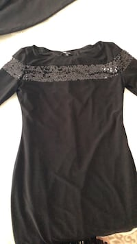Black and gray sequin scoop-neck mini dress Roswell, 30075