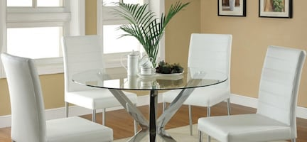 Glass Top Dining Table w/4 White & Chrome Chairs