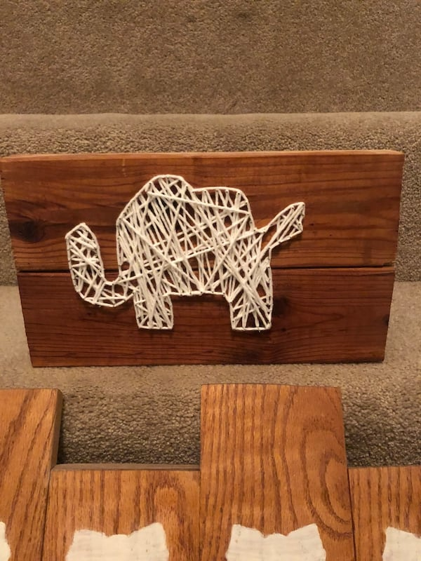 Handmade elephant decor 2 pieces baby room hanging wall piece 86dddf9e-fccc-4096-9de2-88c844c4b4f2
