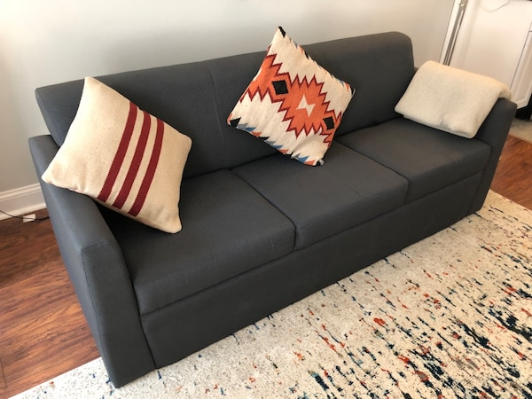 Blue Fabric 3 Seat Sofa With Throw Pillows Throw Clean Great