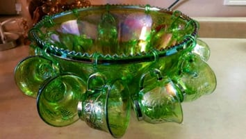 Rare Green Carnival Glass Punch Bowl Set