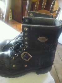 black leather lace up boots Harley Davisnon