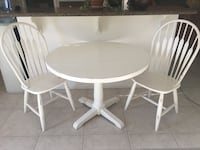White Drop Table & 2 Chairs Solid Wood La Quinta, 92253