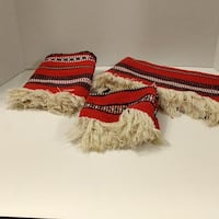 Slovak table mats--red with white fringe NORTHOLMSTED