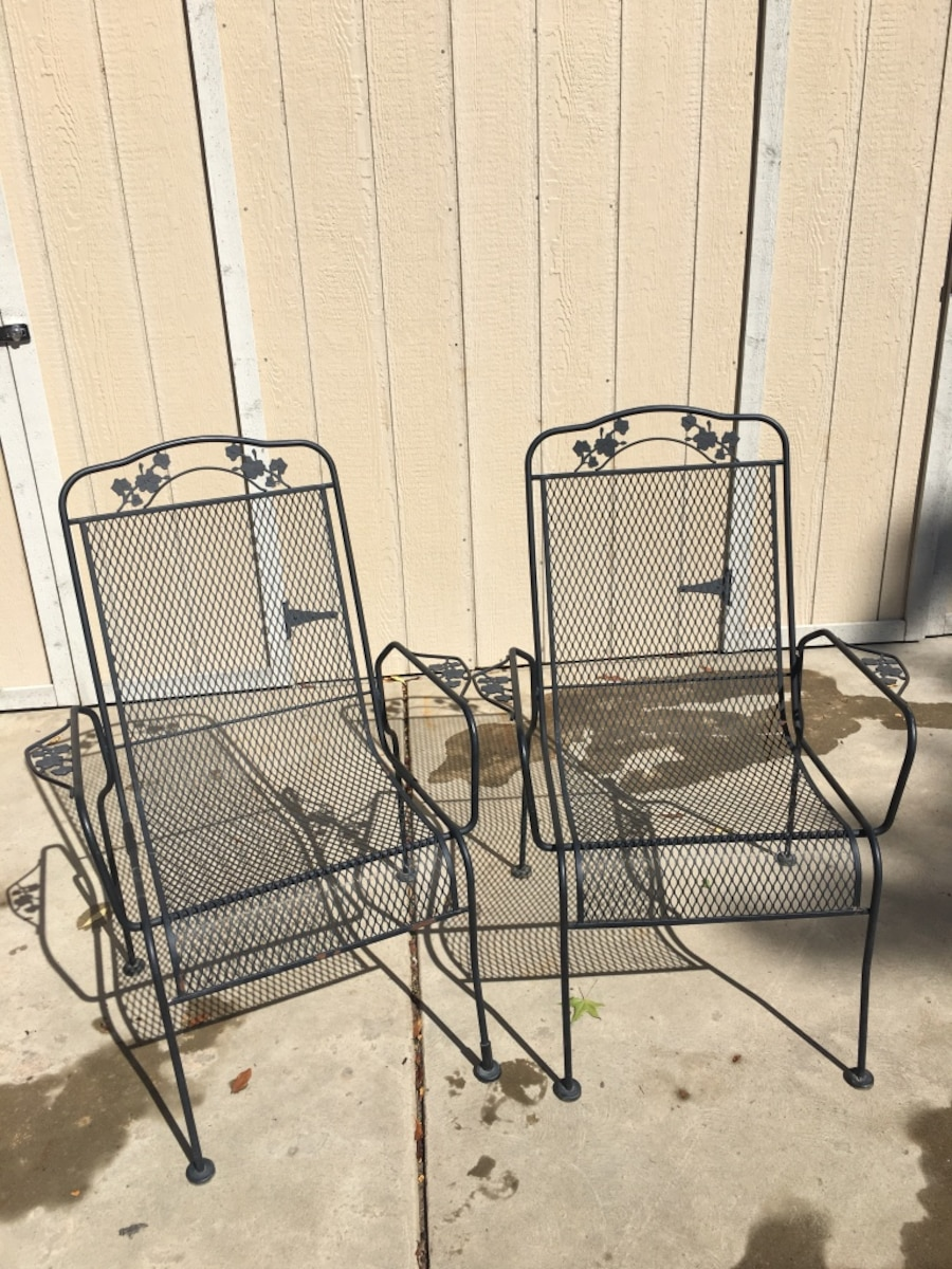 Two Black Metal Patio Chairs a7674550 4983 4c55 8eef 52cbff9b793f on 819677