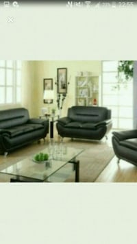 black leather sofa set with coffee table Toronto, M9V 4C4