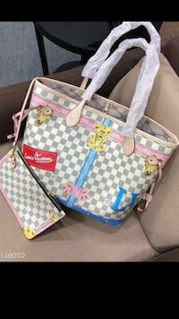 white and blue Louis Vuitton leather tote bag Midvale, 84047