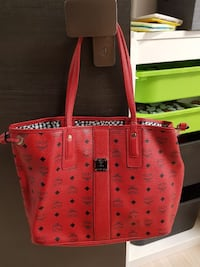 Authentic Mcm red reversible tote shopper bag