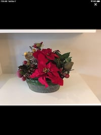 "Christmas decor poinsettia in metal tin 17 w x 12h x 7"" d. EUC"