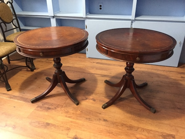 Matching vintage drum tables