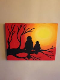 silhouette of two birds painting