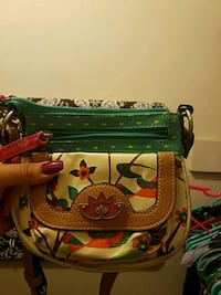 green and brown floral leather crossbody bag Anniston, 36206