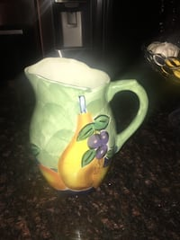 Hand painted ceramic water pitcher