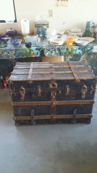 black and brown wooden chest box