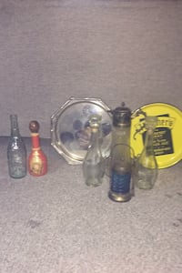 Antique bottles pitcher and trays , bar supplies St Thomas, N5P 1N2