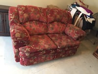 Red and brown floral fabric 3-seat sofa Fredericksburg, 22408