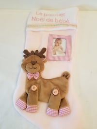 NEW BABY GIRL FIRST CHRISTMAS STUCKING WITH FRAME Brampton, L6Z 4B9