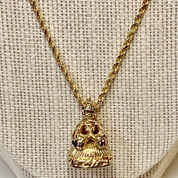 Antique 14k Yellow Gold Watch Fob Pendant with 14k Rope Chain 525c647e-bd53-478a-a148-d2e8beaee951