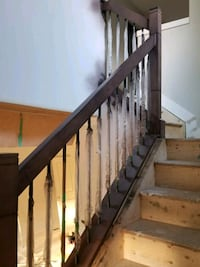 Interior maple and steel stair railing