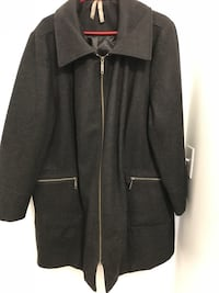Black zip up 60% wool dress coat