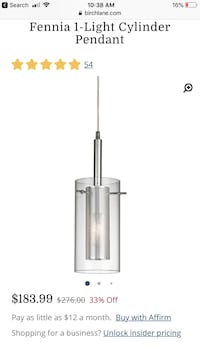 Single cylinder island pendant. Luxurious ( New ) Alexandria, 22312