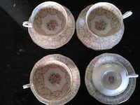 four beige-white-and-pink ceramic teacups with saucers set Edmonton, T5R 5C6