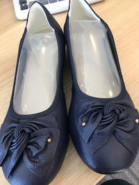 pair of blue leather flats 3730 km