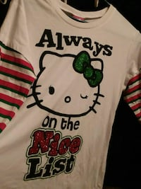 white and black Hello Kitty crew-neck long-sleeved shirt