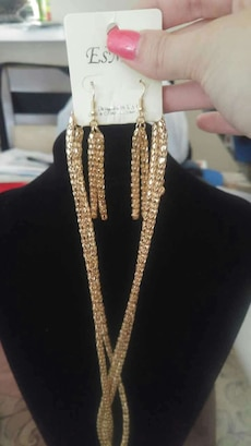 gold diamond necklace and hook earrings