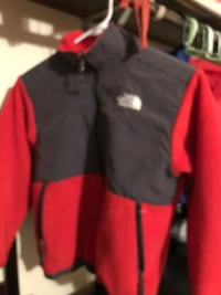 gray and red The North Face jacket