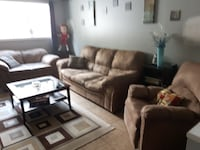brown fabric 3-seat sofa Moncton, E1C 1B8