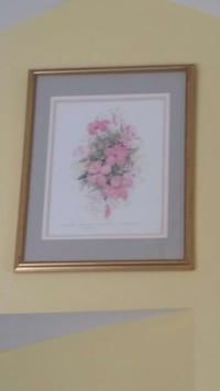 pink petaled flowers painting with beige wooden fr New Jersey, 08852