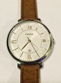 FOSSIL Jacqueline Silver Dial Tan Leather Strap Ladies Watch ES3708 533 km