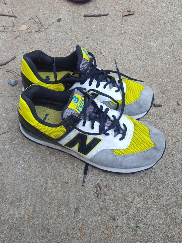 buy online 0082b 6b868 gray-and-yellow New Balance 574 running shoes