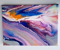 white, purple, blue, and yellow abstract painting