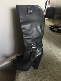 black leather knee-high chunky heel boot Calgary, T2J 6R5